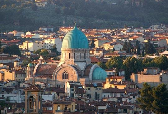 Foto aerea della Sinagoga di Firenze